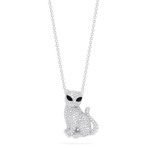 Effy Novelty 14K White Gold Diamond Kitten Pendant, 0.65 TCW