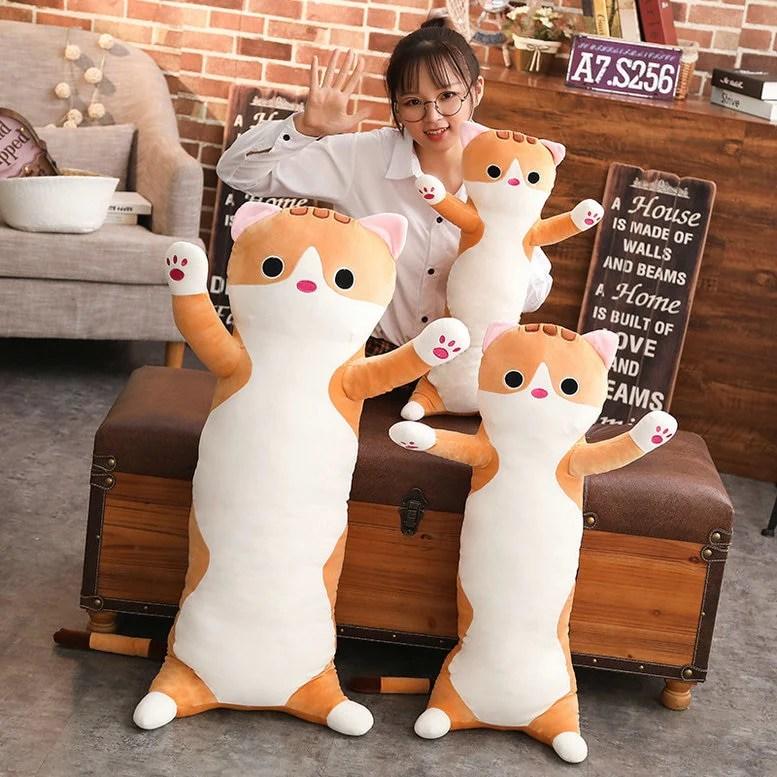 cute long cat pillow
