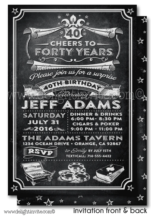 vintage cheers for forty years cigar and poker 40th birthday invitation design download