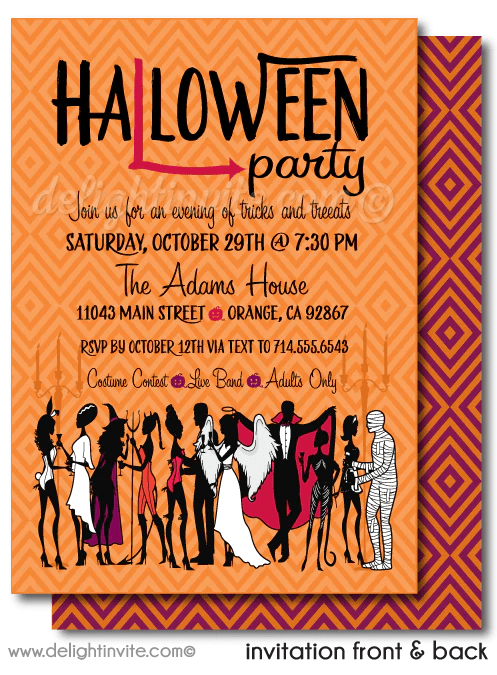 non scary costumes and cocktails adult halloween party invitations