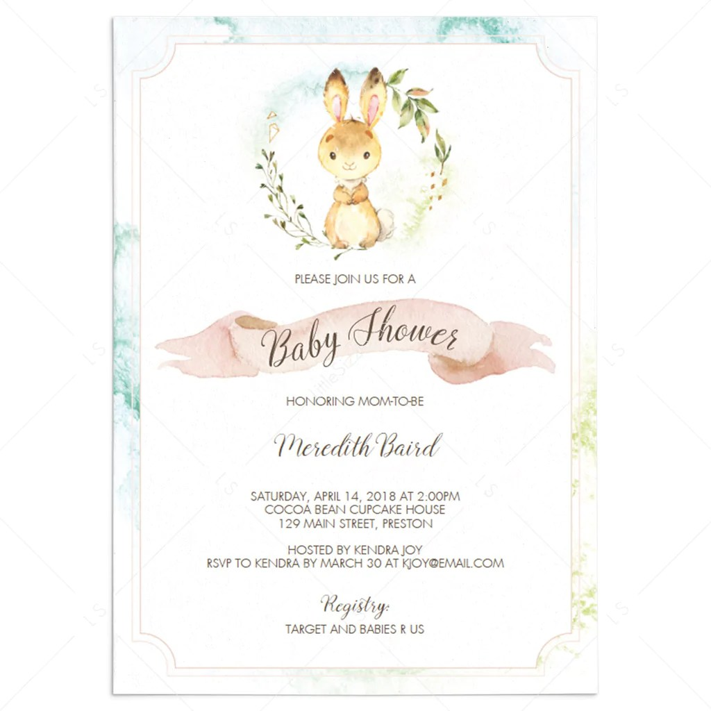 watercolor bunny baby shower invitation template