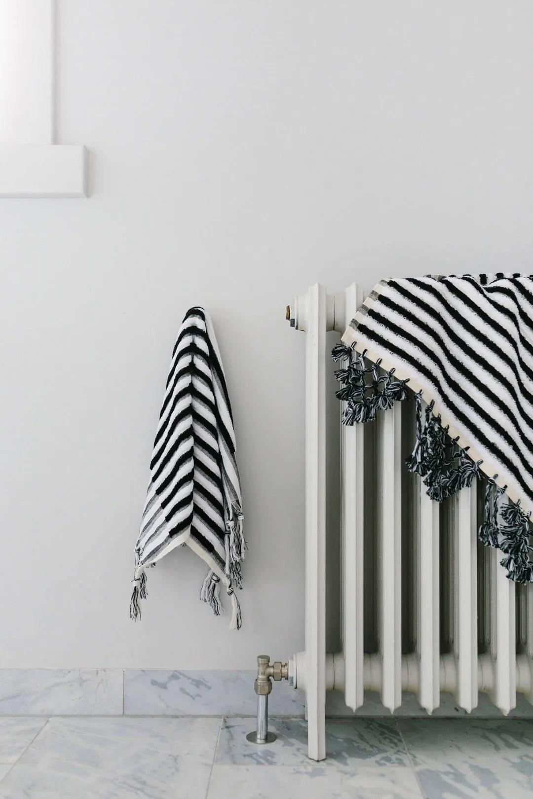 Black And White Stripe Luxury Bath Mat Organic Cotton Loom Towels