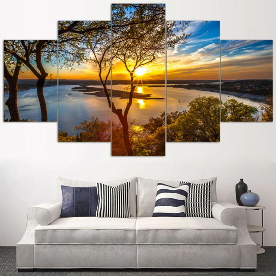 Beautiful Sunrise Natural Landscape 5 Piece Canvas Wall Art Itdayshop