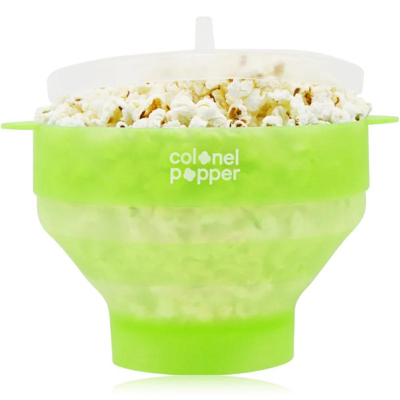 silicone microwave popcorn popper transparent fresh mint