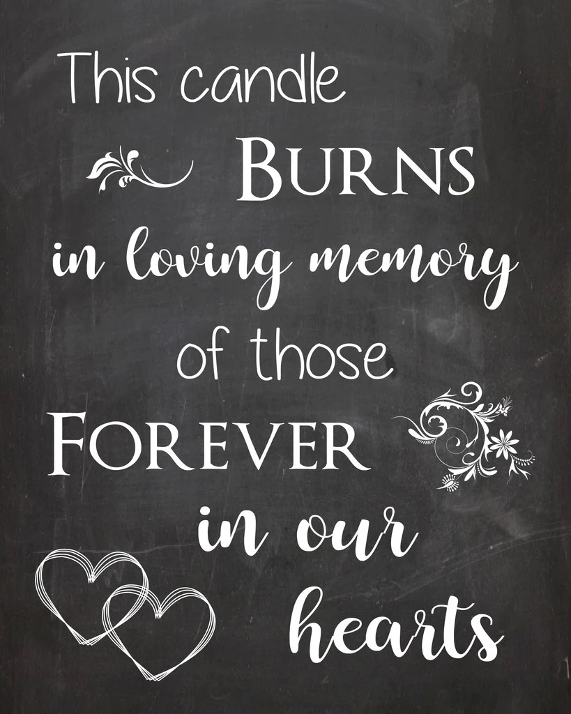 Download Memory Candle wedding sign PRINTABLE - Red Morning Studios