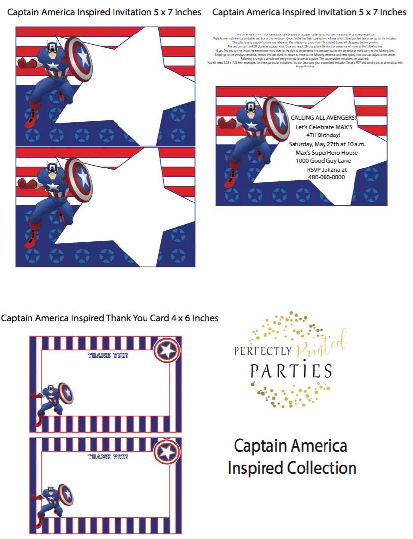 captain america inspired printable invitation digital download