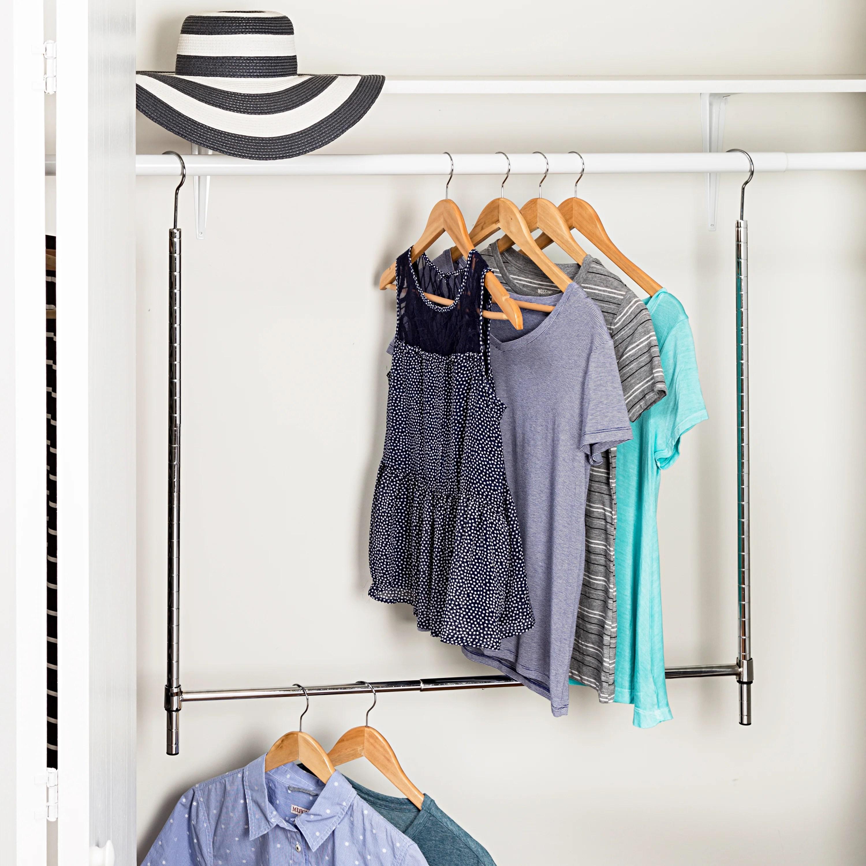 Adjustable Hanging Closet Rod Chrome
