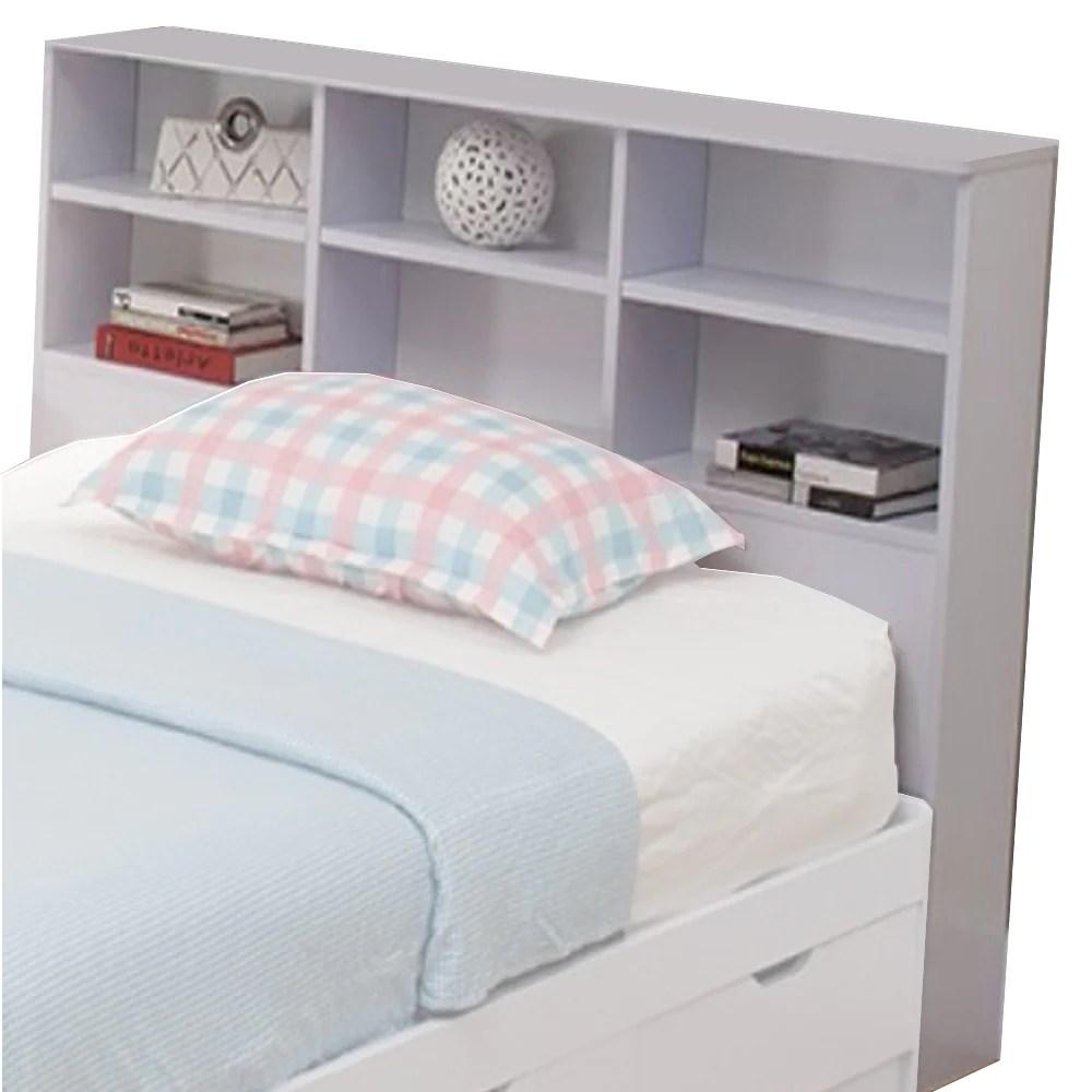 wooden full size bookcase headboard with 6 open shelves white bm141867