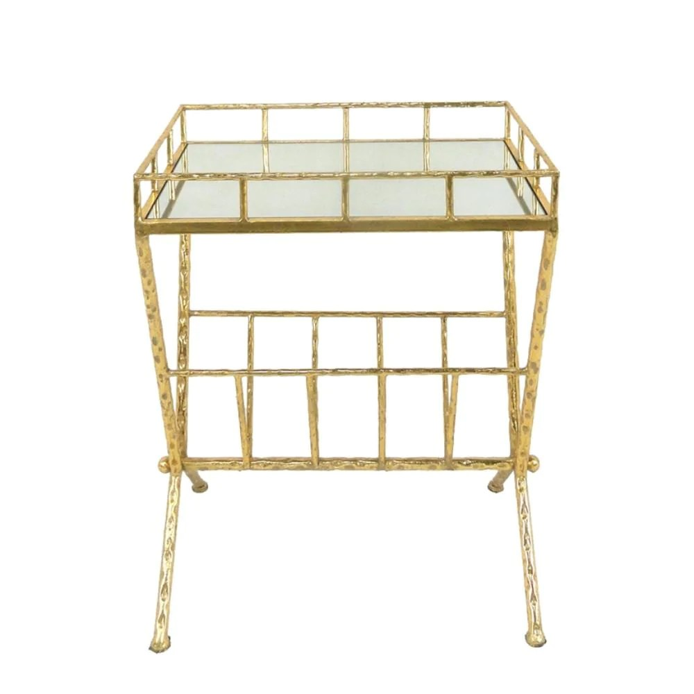 bm149849 tempting metal glass magazine rack accent table gold