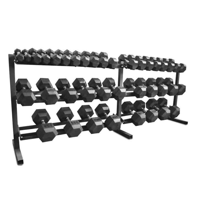 rubber hex dumbbell set 5 100 no rack