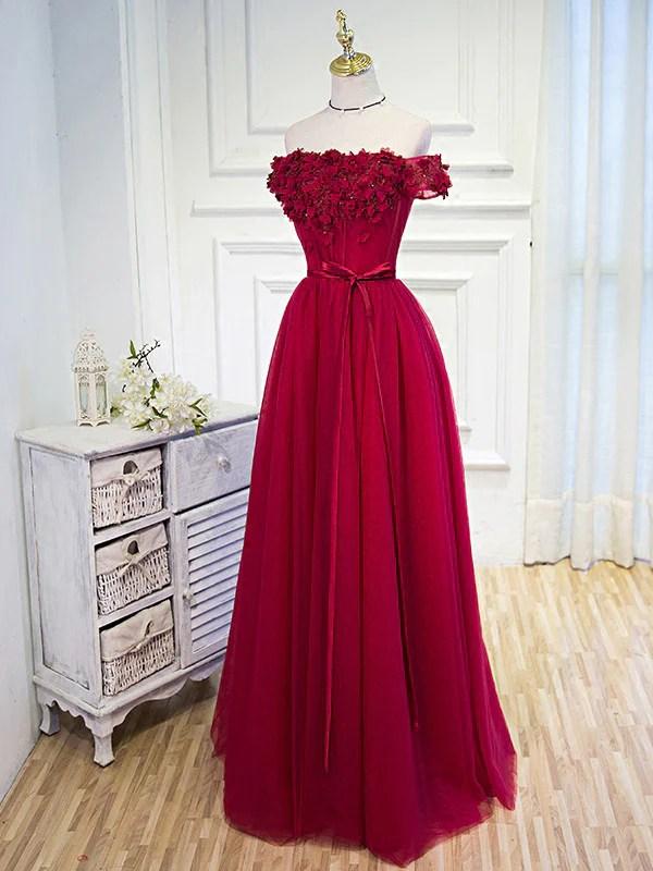 Prom Dresses Burgundy Hand Made Flower Prom DressEvening