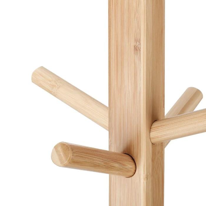 Langria Coat Hook Bamboo Wooden Coat Rack And Hook Rack With 3 Tiers