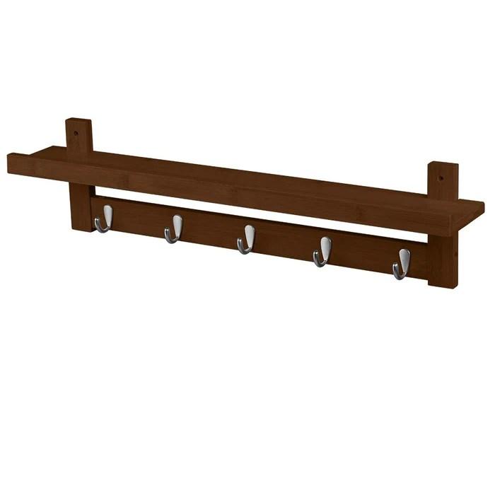 Home Garden Wall Mounted Coat Hook Bamboo Wooden Coat Rack With Metal Hooks And Upper Shelf Coat Hat Racks