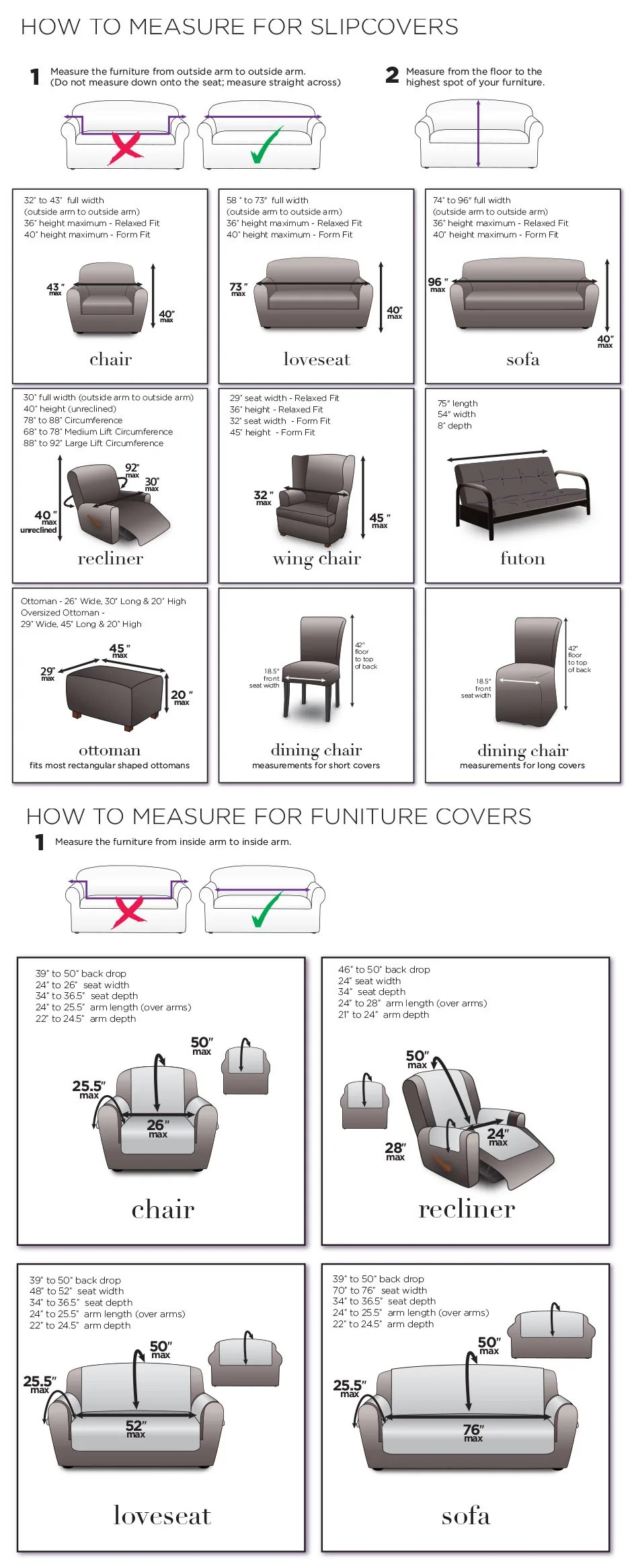 Measuring Guide For Slipcovers Chairs Loveseats Sofas Recliners Surefit
