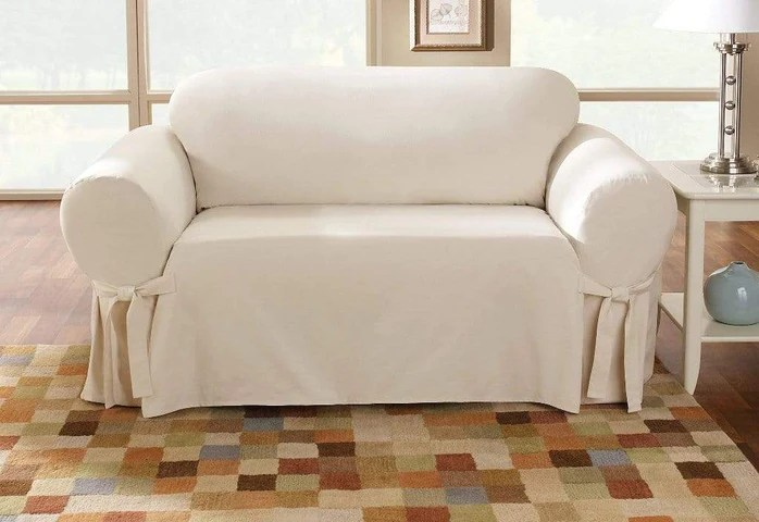 cotton duck one piece loveseat slipcover relaxed fit corner ties 100 cotton machine washable