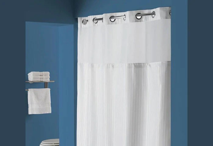 hookless classic herringbone shower curtain includes snap on off replaceable liner