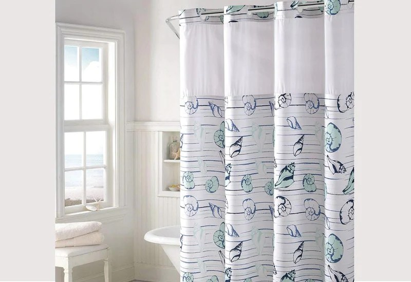 hookless seashell stripe shower curtain includes snap on off replaceable liner
