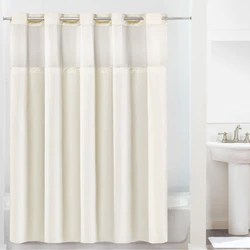 montage hookless shower curtain includes snap on off replaceable liner