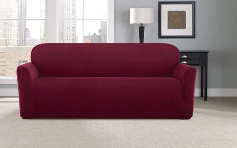 stretch modern chevron one piece sofa slipcover