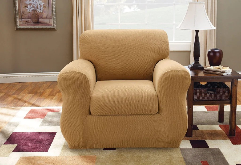 Stretch Pique Three Piece With Back Cushion Chair Slipcover SureFit