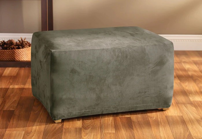 stretch suede oversized ottoman cover