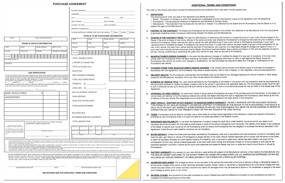 Dealer Purchase Agreement Form US Auto Supplies US AUTO SUPPLIES