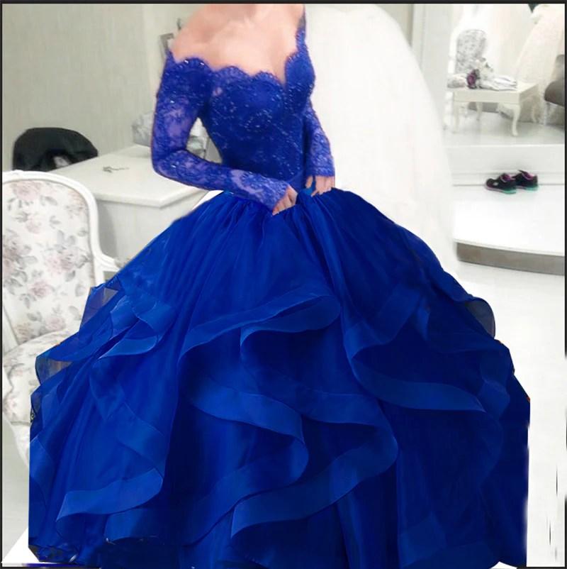 Cheap Royal Blue Puffy Ball Gown Organza Prom Dress Long