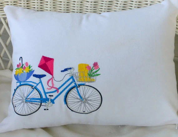 bicycle pillow covers embroidered bicycle pillow seasonal bike pil julie butler creations