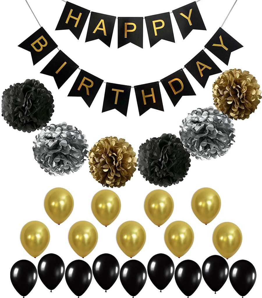 BLACK And GOLD PARTY DECORATIONS Perfect Adult Birthday
