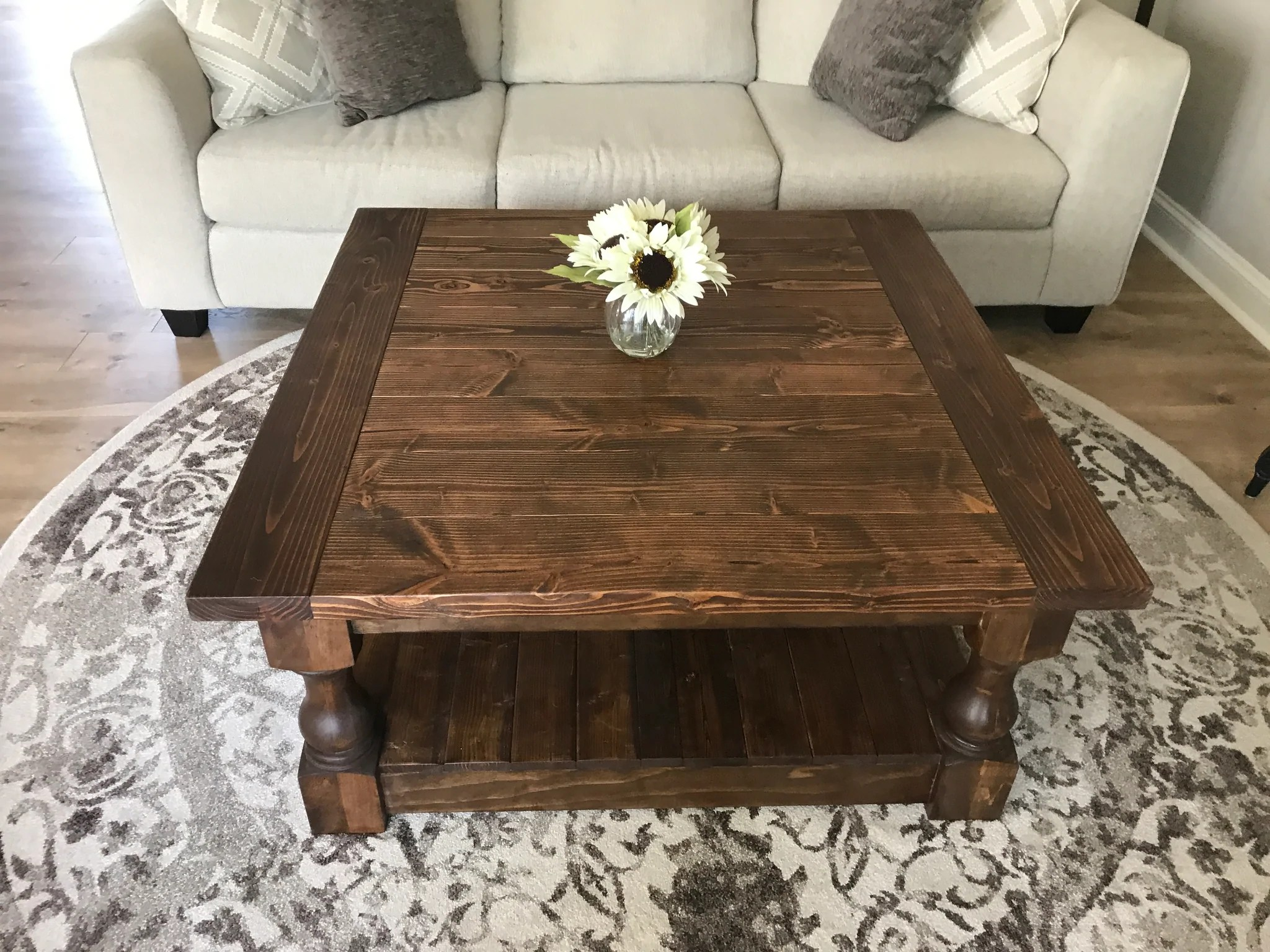 stained farmhouse style rustic coffee table
