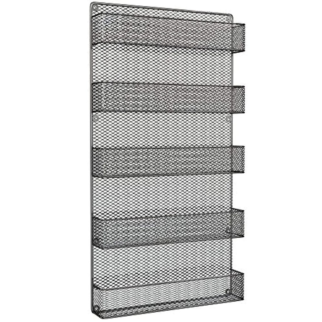 Spice Rack Organizer Country Rustic Wire Style Great Storage For Pantry Cabinet And Kitchen Wall Mounted 5 Tier Shelves