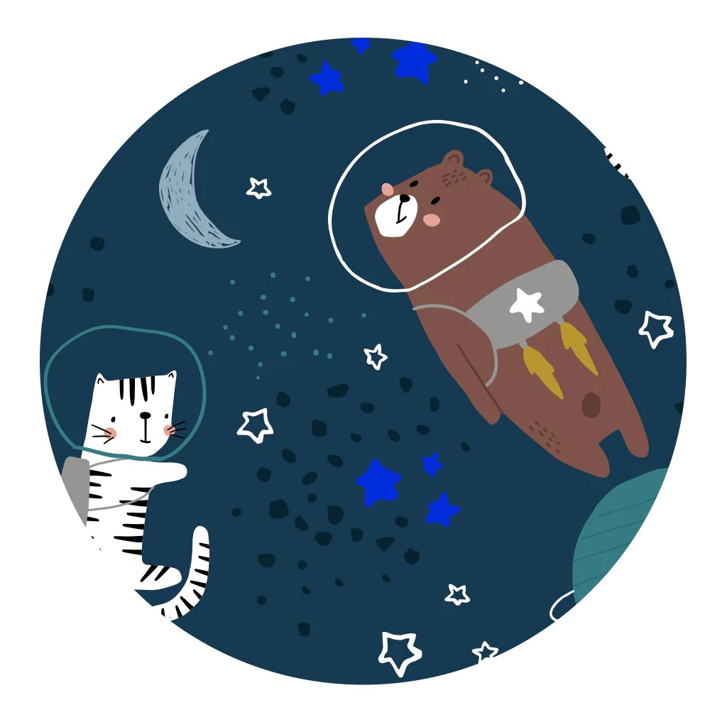 kids outer space shower curtain with bear and cat astronauts