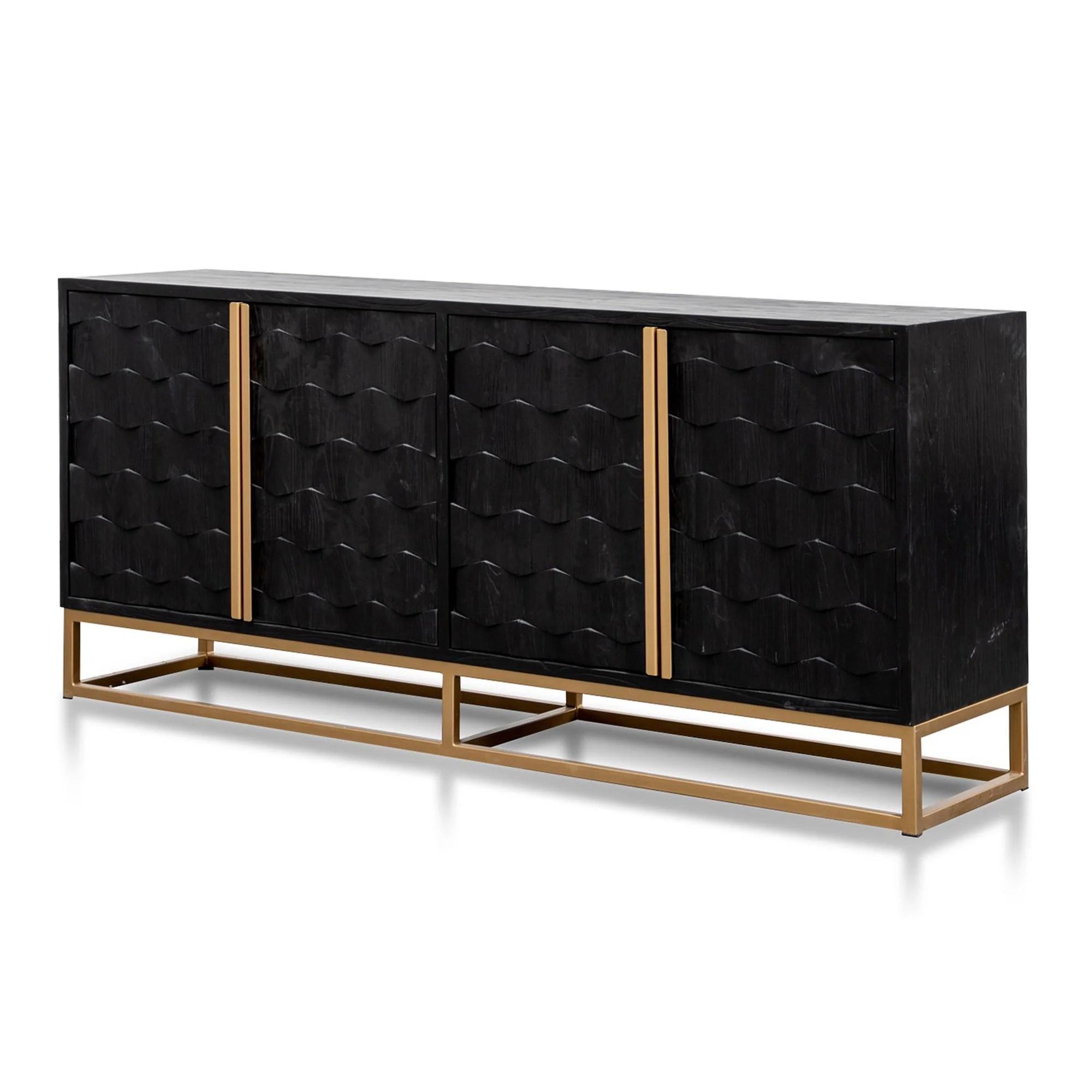 Mildred 1 78m Sideboard Black Elm Wood With Gold Ha Interior Secrets