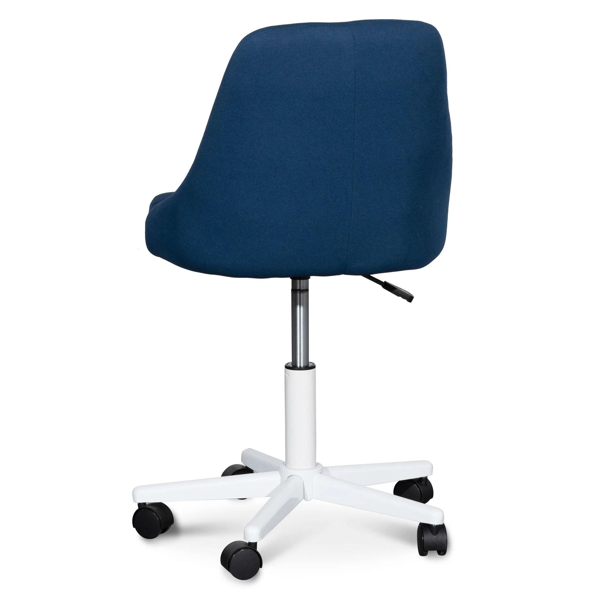 Ernesto Space Blue Fabric Office Chair White Base Interior Secrets
