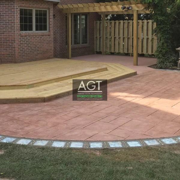 glowing concrete patio paver border