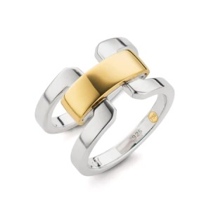 Two Tone Double Band Ring With Gold Accent Bar   Monica Rich Kosann Two Tone Double Band Ring With Gold Accent Bar