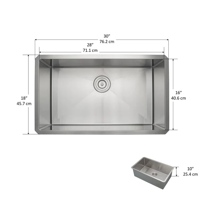 prestige series undermount stainless steel 30 in single bowl kitchen sink with grid and strainer in satin
