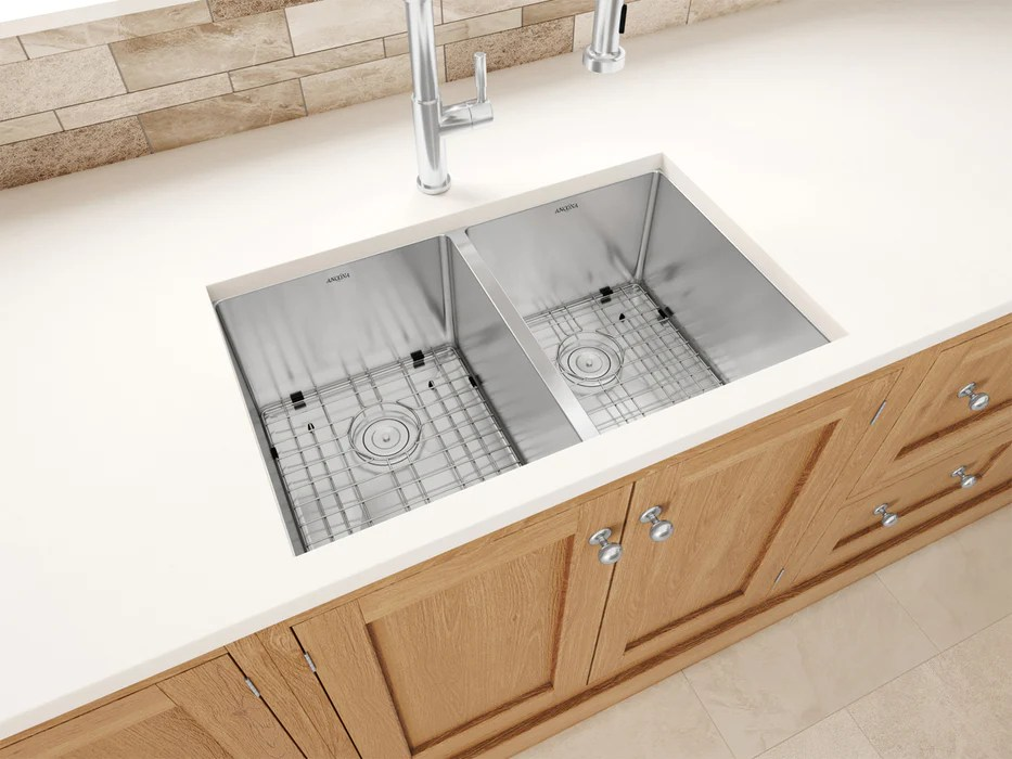 prestige series undermount stainless steel 28 in 50 50 double bowl kitchen sink in satin finish with grids and strainers