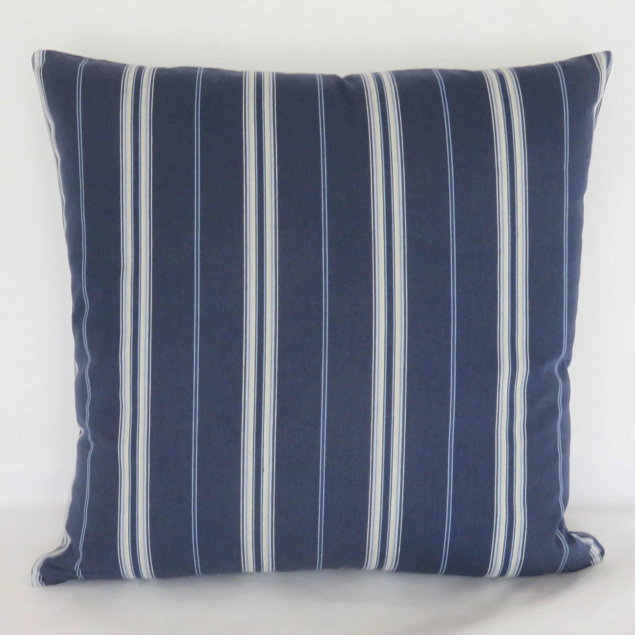 navy blue and white stripe pillow cover traditional or nautical decor
