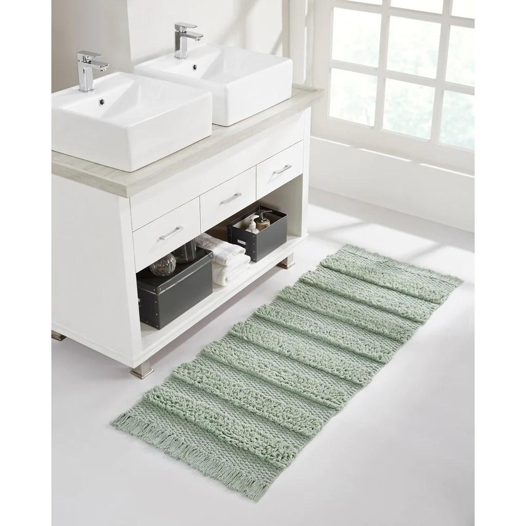 savannah fringe stripe bath rug runner