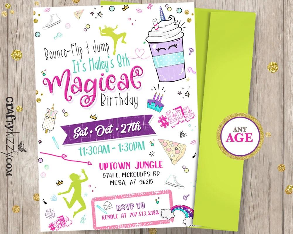 tween unicorn trampoline birthday invitations girl gymnastics invitation rainbow bounce house invitations