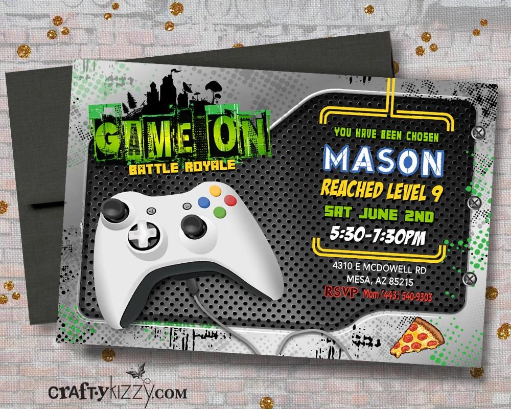 gamer birthday invitations game on boy birthday invite video game invitation battle royale gaming party