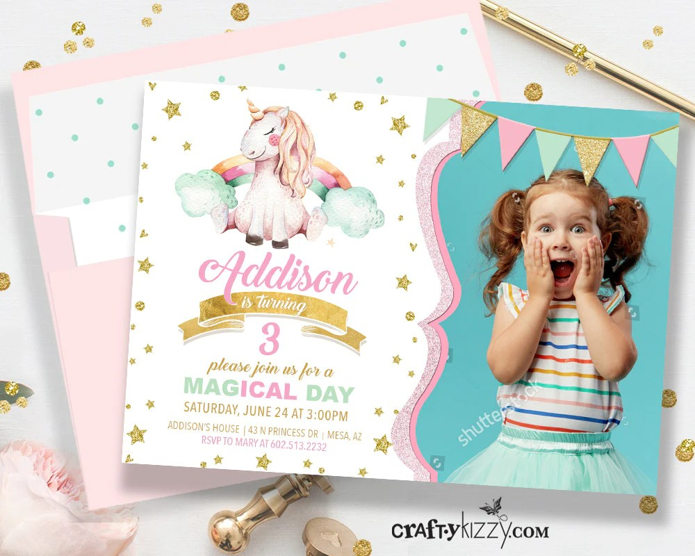 unicorn birthday party invitation pink and gold unicorn invitations girl rainbow unicorn birthday party