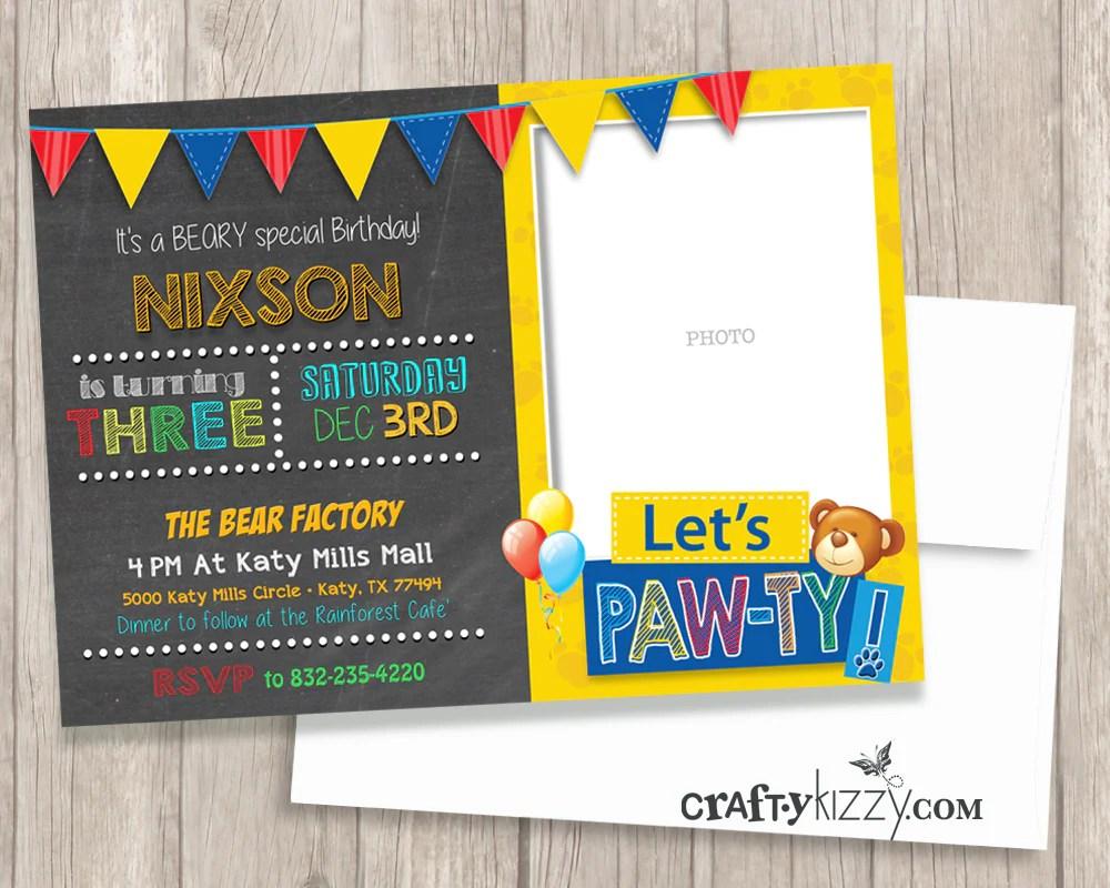 teddy bear first second or third birthday invitation 1st birthday invite printable girl boy