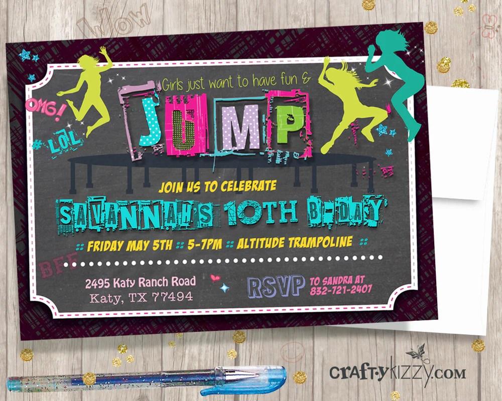 trampoline birthday invitations jump tween girl invitation girls bounce house printable invites