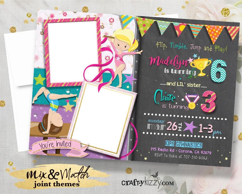 girl gymnastics birthday invitations double joint gymnast party invitation girls gymnastics flip tumble jump and play invite with photos