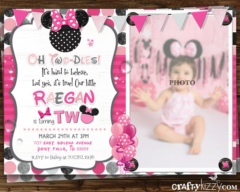 minnie mouse pink second birthday girl invitation oh twodles 2nd or first birthday invitations