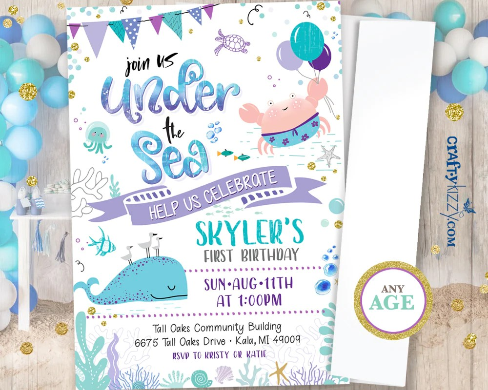 girl first birthday under the sea invitation watercolor teal and purple ocean birthday party nautical beach