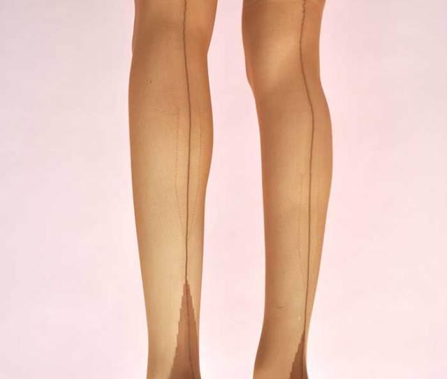 1960s Original Vintage Outline Fully Fashioned Stockings  E2 80 A2 Cuban Heel  E2 80 A2tan