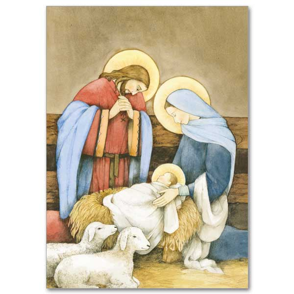 Holy Family In Stable With Lambs Christmas Cards The
